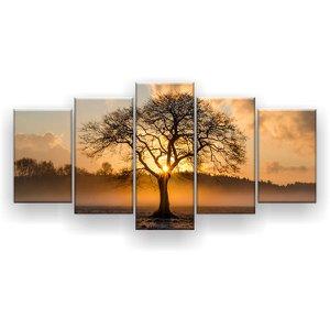 Quadro Decorativo Árvore No Deserto 129x61 5 Peças