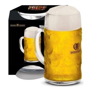 Caneca de Chopp de Vidro ou Cerveja Mass Baden Baden de 1 Litro
