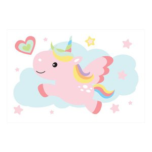 Placa Decorativa MDF Infantil Unicornio Nuvem