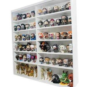 Expositor MDF para colecionáveis e funko pop, portas em vidro, 12 vãos, branco - Dom Móveis
