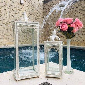 Conjunto 2 Lanternas Marroquinas Brancas 54x18cm