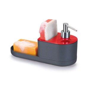 Dispenser para Detergente Com Porta Esponja e Sabão Vermelho - Arthi