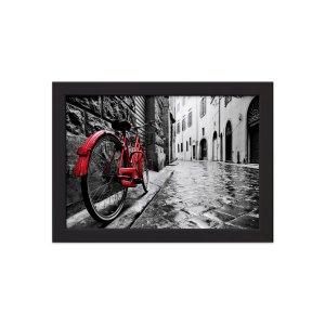 Quadro Itália Foto Bicicleta Moldura Preta 33x43cm