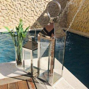 Conjunto 2 Lanterna Marroquina Decorativa Prata 68cm/46cm