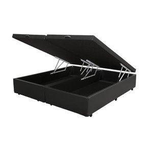 Base Box Baú King Bipartido Co. Sintético Preta (32x198x203)
