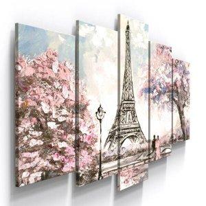 Quadro Decorativo Paris Flor Torre Eiffel Romantico Aquarela