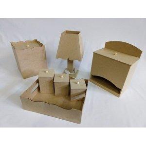 Kit Bebe Higiene Madeira Mdf Cru 7 peças Liso + Fiação + Brinde