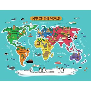 Tapete de Atividades Infantil Estampa Mapa Mundi 140x180cm