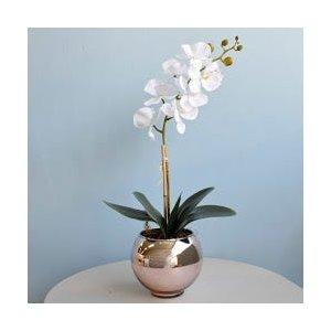 Arranjo de Orquídea Artificial Branca no Vaso Rose Gold Pequeno |Linha Permanente Formosinha