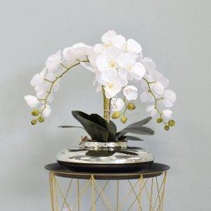 Flores artificiais Arranjo de Orquídeas Brancas Artificial no Vaso Terrário Prateado|Linha