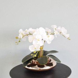 Flores artificiais Arranjo de Orquídeas Brancas Artificial no Vaso Terrário Rose Gold|Linha