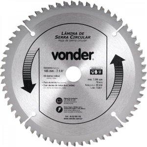 Lâmina de serra circular com vídea para alumínio 185 mm x 20 mm x 60 dentes Vonder