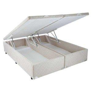 Cama Box Baú King Size Suede Bege com Pistão - 193x203