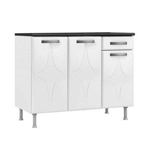 Balcão de Cozinha com Tampo 3 Portas 1 Gaveta Rubi Smart Telasul