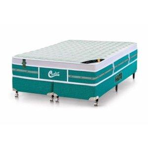 Cama Box - Colchão Queen Size Green Unique Molas Pocket Castor com Box SI 158x198x72cm