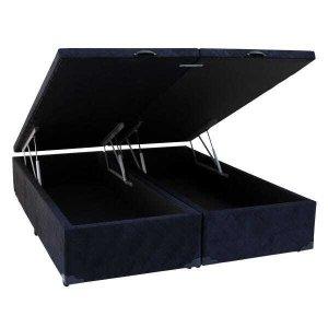 Cama Box King Size com Baú Sonnoforte Luxo Suede Preto com Pistão - 193x203