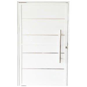 Porta Pivotante De Alumínio Branco 210 x 120 Linha 25 Com Friso - Esquerda