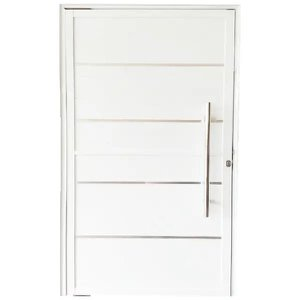 Porta Pivotante De Alumínio Branco 210 x 100 Linha 25 Com Friso - Esquerda
