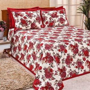 Cobre Leito King Size Vermelho Estampado 3 Peças com Porta Travesseiros