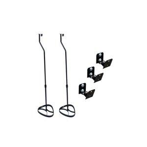 Kit 3 Suportes Parede + 2 Pedestais Para Home Theater Caixa Acústica Som Conjunto Universal -