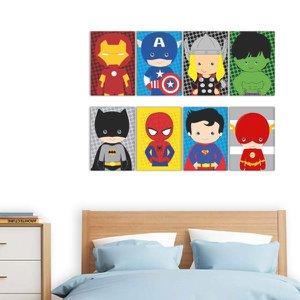 Quadros Super Heróis Marvel Decorativo Infantil 8 peças
