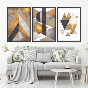 Quadro Decorativo 135x64cm Abstrato Geométrico Marmores