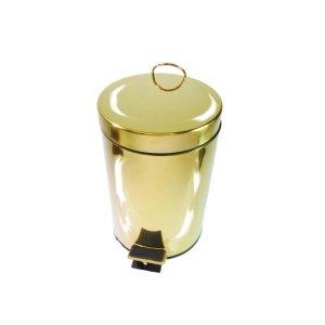 Lixeira Dourada em Aço Inox para banheiro com Pedal 3L – By Fineza
