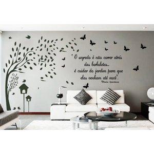 Adesivo Decorativo de Parede Arvore Galhos e Frase com Borboleta e pássaros
