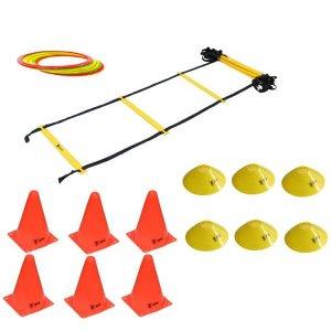 Kit Treinamento Funcional Escada Agilidade Cones Argolas