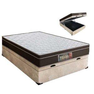 Cama Box casal com baú + Colchão Molas Bonnel 1,38 x 1,88 x 24 cm