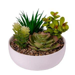 Arranjo Permanente Suculenta Plástico Vaso Cerâmica Vizapi Garden 16x13cm