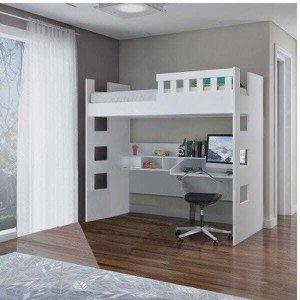 Cama Alta com Escrivaninha e Grade de Proteção MDF U231623 Branco Foscarini