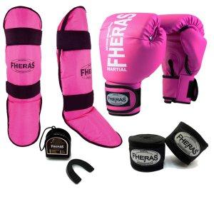 Kit Fheras Luva de Boxe Muay Thai + Bandagem + Bucal + Caneleira Rosa