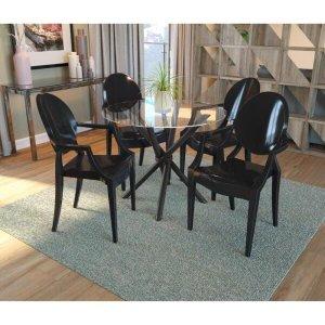 Conjunto de Mesa Volga com 4 cadeiras Polipropileno - Preto