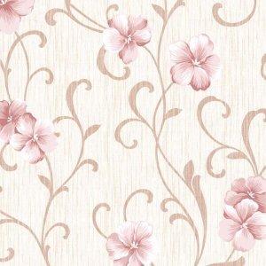 Papel de Parede Floral Adesivo Flores Rosa Lavável - N4782