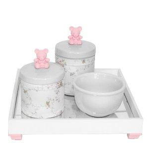 Kit Higiene Espelho Potes, Molhadeira e Capa Ursinho Rosa Quarto Bebê Menina