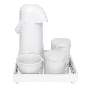 Kit Higiene Espelho Potes, Garrafa e Molhadeira Branco Quarto Bebê Unissex