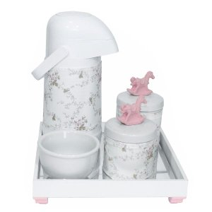 Kit Higiene Espelho Potes, Garrafa, Molhadeira e Capa Cavalinho Rosa Quarto Bebê Menina
