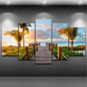 Quadro Mosaico Paisagem Praia 5 Peças 1,20x0,70cm Ref 18