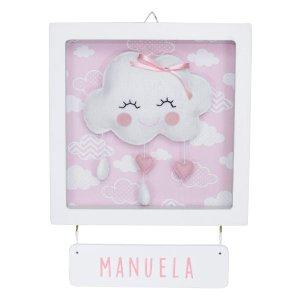 Porta Maternidade Quadro Acrílico Chuva de Amor Rosa Quarto Bebê Infantil Menina