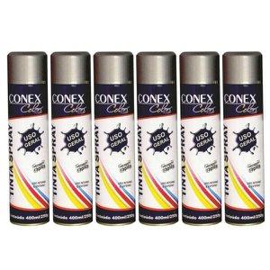 Tinta Spray Alumínio Alta Temperatura 315ml Conex Colors - 6 Unidades
