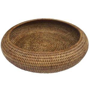 Cesto centro de mesa arredondado em rattan natural BAHAY - Grande 36x8 cm
