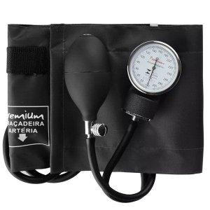 Esfigmomanômetro Medidor de Pressão Aneroide Nylon com Velcro G-TECH Premium Cor: Preto