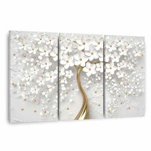 Quadro decorativo Flores Cerejeiras Brancas e Dourado Para Sala Escritórios em Tecido Canvas Framez