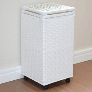 Cesto de Roupas Fibra Sintética C/rodinhas 30x30x60 Branco