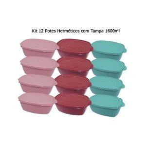 Conjunto de Potes Herméticos Retangular 1600ml Leve 12 Pague 6 - Plugador