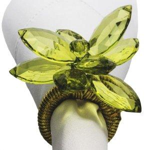 Porta Guardanapo Flor Cristal Verde