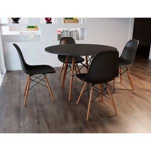 Conjunto De Mesa 4 Cadeiras Pretas Eames Eiffel 90 Cm Base Madeira Tampo Preto