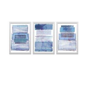 Conjunto Kit 3 Quadros Decorativos Abstrato Retângulos Azul Los Quadros