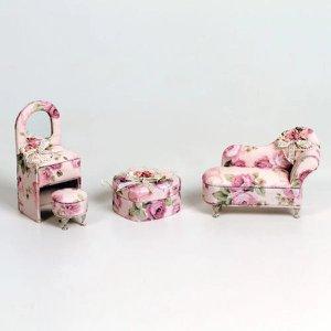Kit Sofá Penteadeira E Coração Tecido Floral Porta Joias